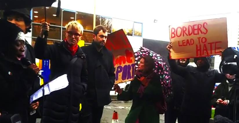 Dianne (left), giving a speech outside Dallas Court on Wed 16th Nov