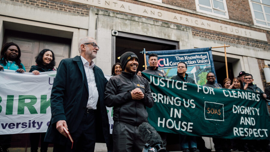 Jeremy Corbyn standing with workers at SOAS University