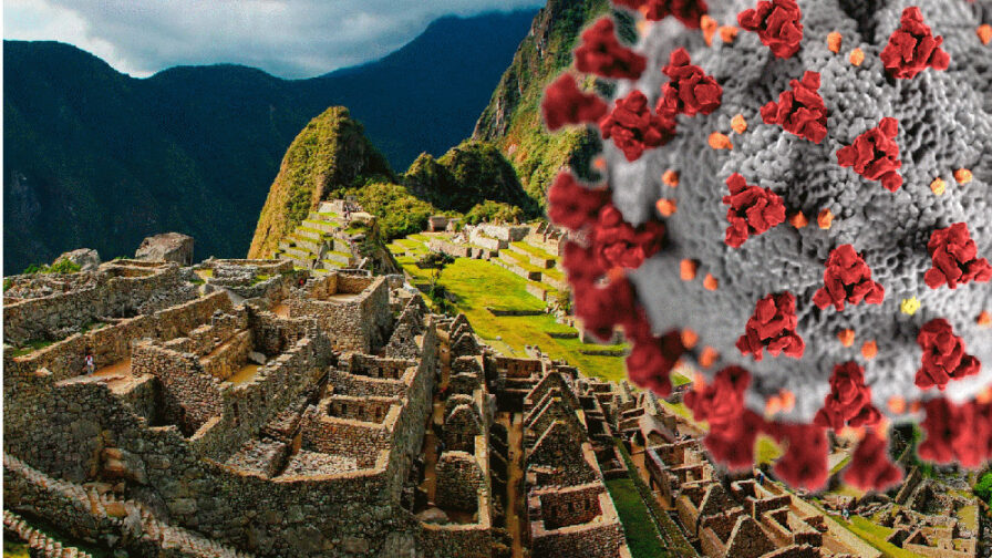 Machu Picchu, Peru with huge coronavirus looming over it