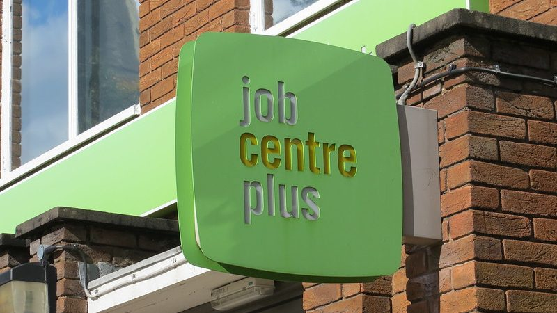 Job centre plus sign, unemployment