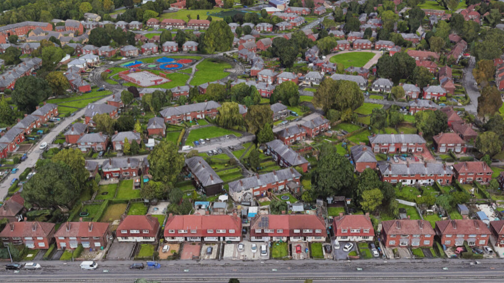 Aaerial shot of social housing in Wythenshawe