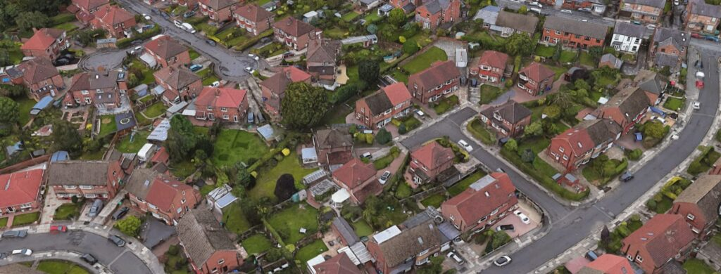 Aerial view of social housing in wythenshawe