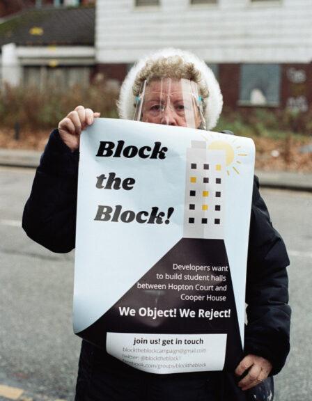 Block the Block protestor in Hulme