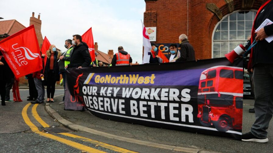 Unite demonstation for bus drivers in Manchester