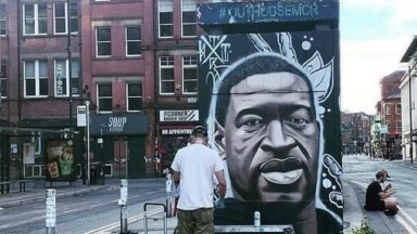 George Floyd Mural in Manchester -Black Lives Matter: Greater Manchester is not innocent