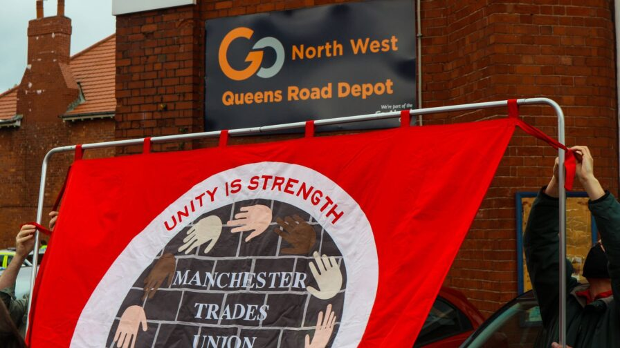 demonstration in aid of bus drivers in Manchester