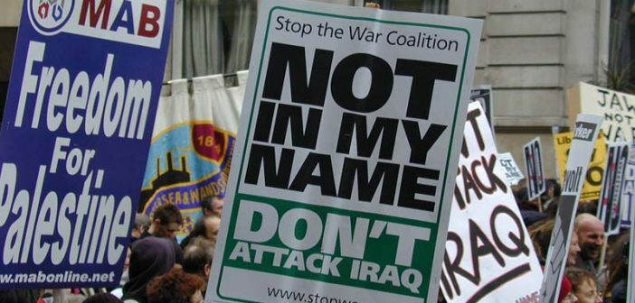Placards at the demonstration on 15 February 2003