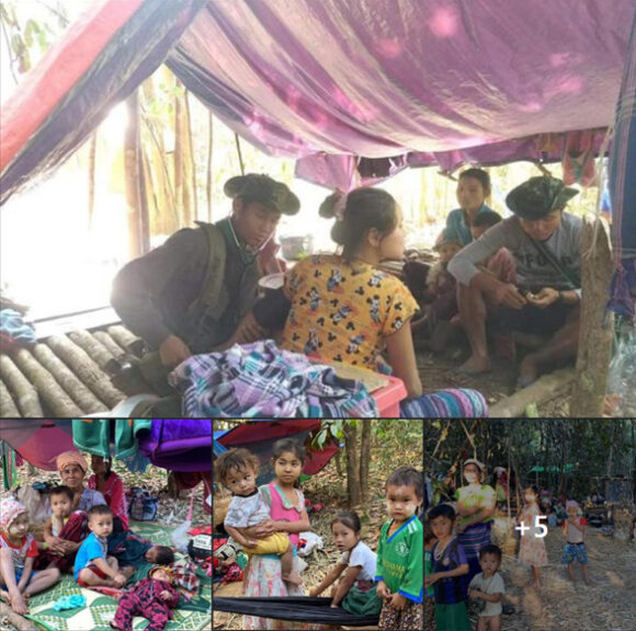 displaced people in Myanmar camping in the jungle.