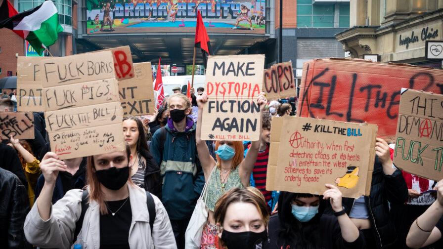 Kill the bill marchers in Manchester