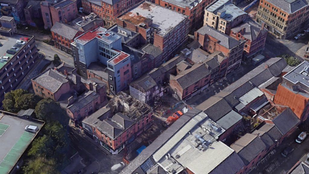 aerial shot of Manchesters northern quarter showing Thomas Street