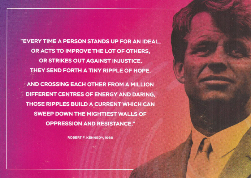 Postcard from Rivers of Hope festival with ripples of hope quote from Robert F Kennedy. Gordon Brown spoke at the festival.