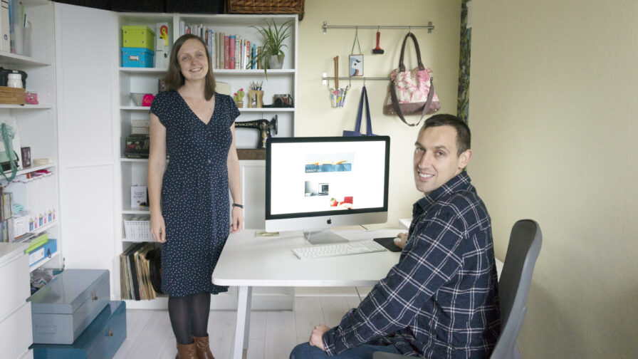 Amy and Chris the Small Things team in their home office