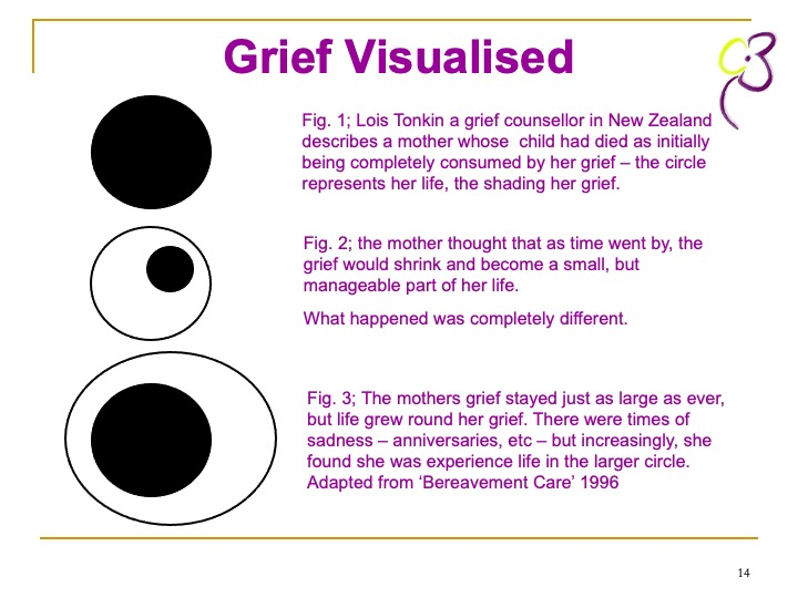 Cruse Image and text showing how grief can remain a part of your life but doesn't mean you can't live your life