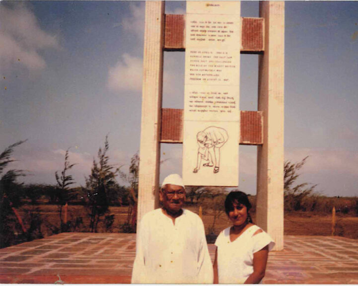Ramila with her father at the Salt March memorial site, Dandi, 1990. Photo: Ramila Patel