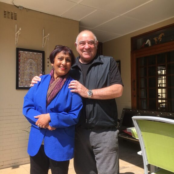 Ramila with Ronnie Kasrils, Johannesburg 2016. Photo: Ramila Patel