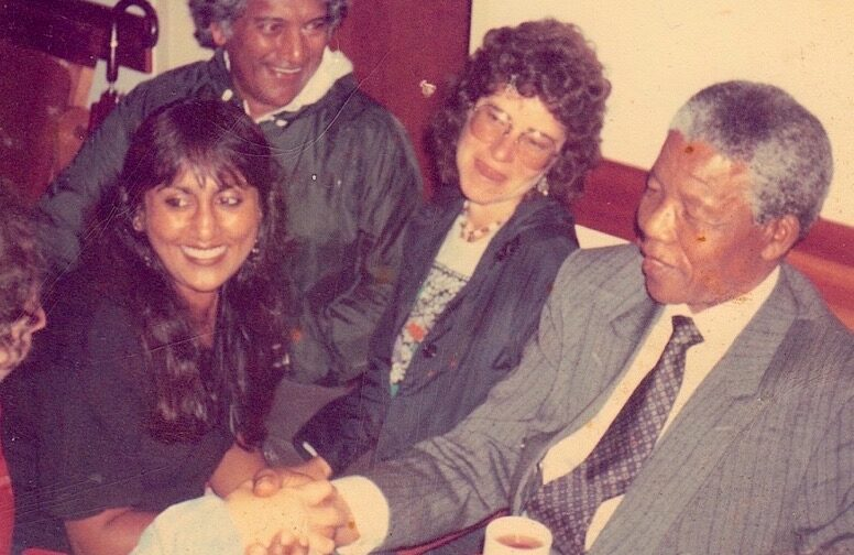 Ramila with Nelson Mandela, Waterford Kamhlaba, 1990. Photo: Ramila Patel