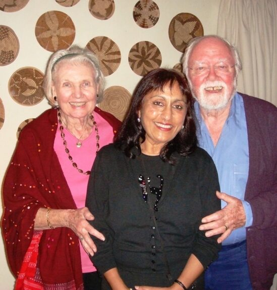 Ramila with Sheila and Richard Attenborough, Waterford Kamhlaba 2006. Photo: Ramila Patel