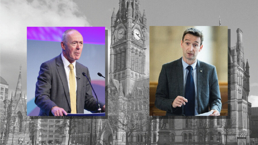 Images of Richard Leese and John Leech over a greyed out image of the town hall of Manchester City Council