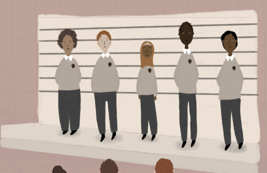 school children cartoon showing them in a police line up parade. teachers look on.