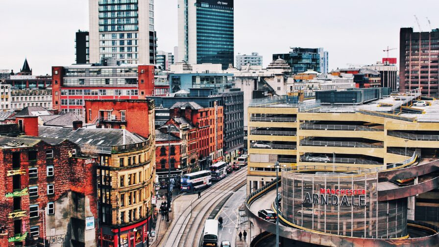 About us page header image showing Manchester City centre skyline