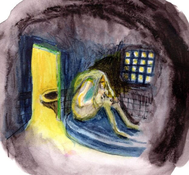 painting depicting a woman in cell