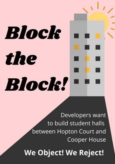 Block the Block campaign leaflet, Campaign also includes a Crowdfunder.