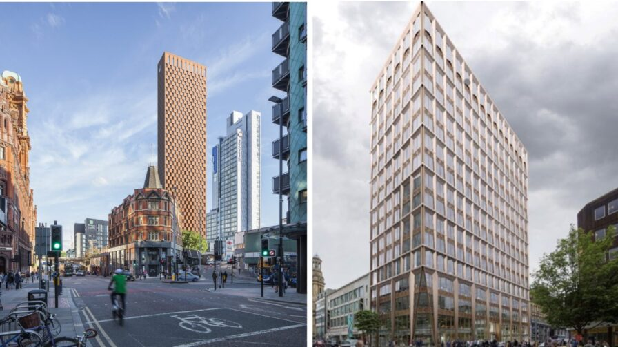 Artists impression of tombstone of oxford Rd and the office block on Deansgate