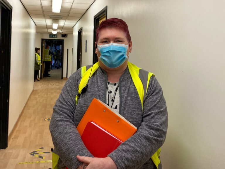Photo of Val Bayliss-Brideaux in vaccination centre.