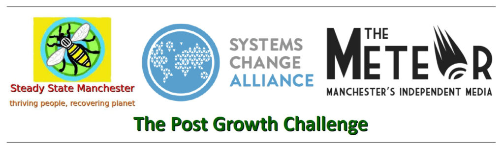 Logos of the three organisations promoting The Post Growth Challenge