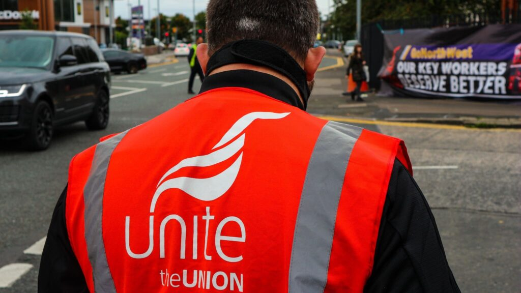 Unite rep at demo in support of Go North West bus drivers