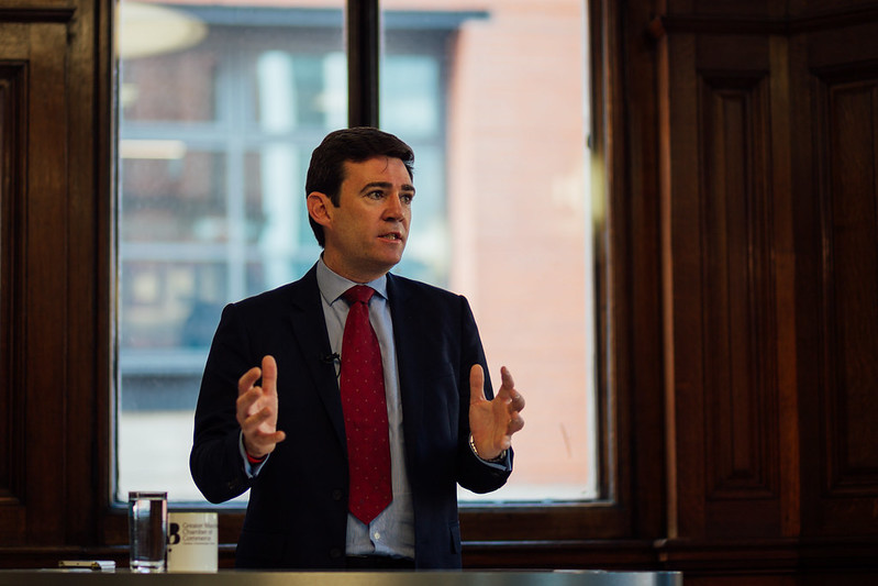 Mayor Andy Burnham, who made announcement yesterday of GM bus network coming under public control in franchising system