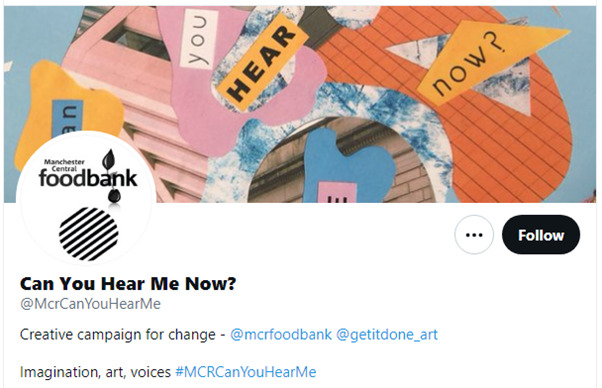 Twitter image of Can you Hear Me Now account which is an event that will discuss issues at Piccadilly Gardens in Manchester