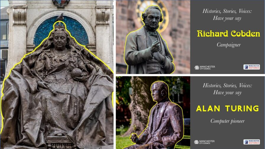Statues in Manchester: Queen Victoria, Richard Cobden and Alan Turing