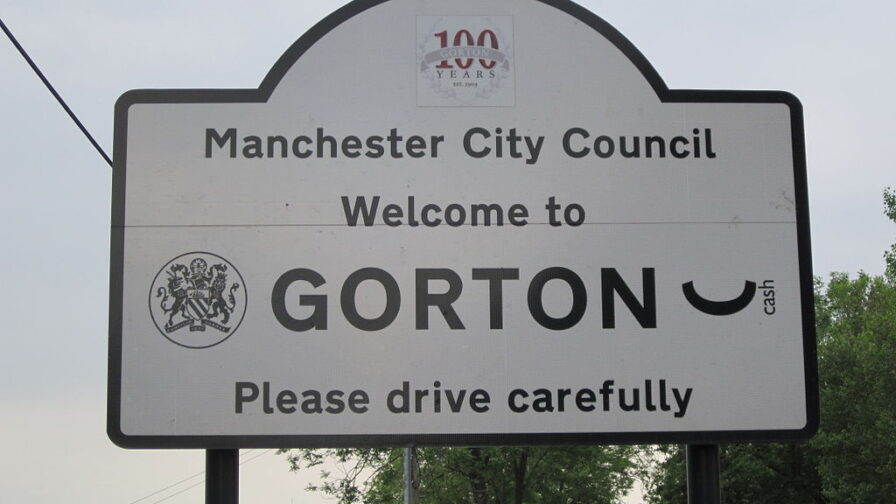 Roadside sign for Gorton