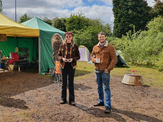 Campaigners at the Ryebank Fields camp