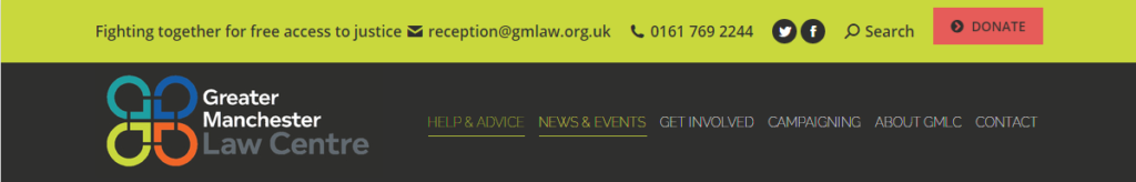GM Law centre website header in article about eviction from social housing.